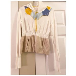 Sparrow Anthropologie White Patchwork Zip Hoodie